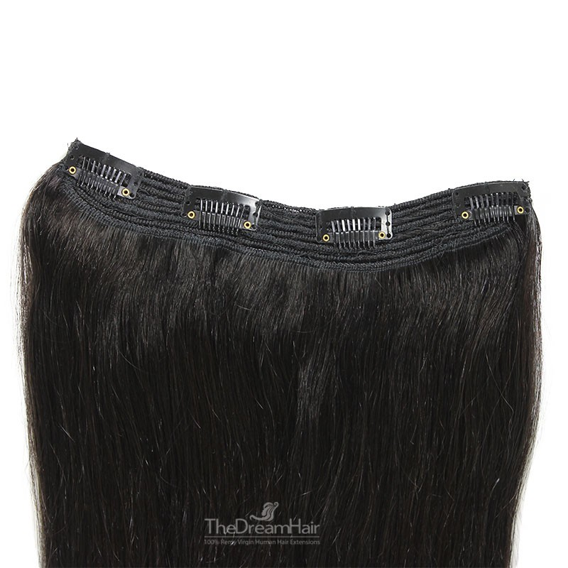One Piece Of Quadruple Weft, Extra Thick, Clip in Hair Extensions, Color #1B (Off Black), Made With Remy Indian Human Hair