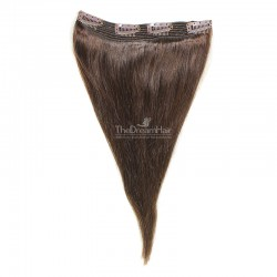 One Piece Of Quadruple Weft, Extra Thick, Clip in Hair Extensions, Color #2 (Darkest Brown), Made With Remy Indian Human Hair