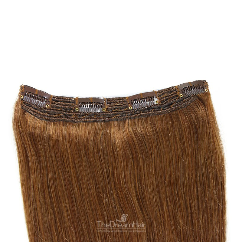 One Piece Of Quadruple Weft, Extra Thick, Clip in Hair Extensions, Color #6 (Medium Brown), Made With Remy Indian Human Hair