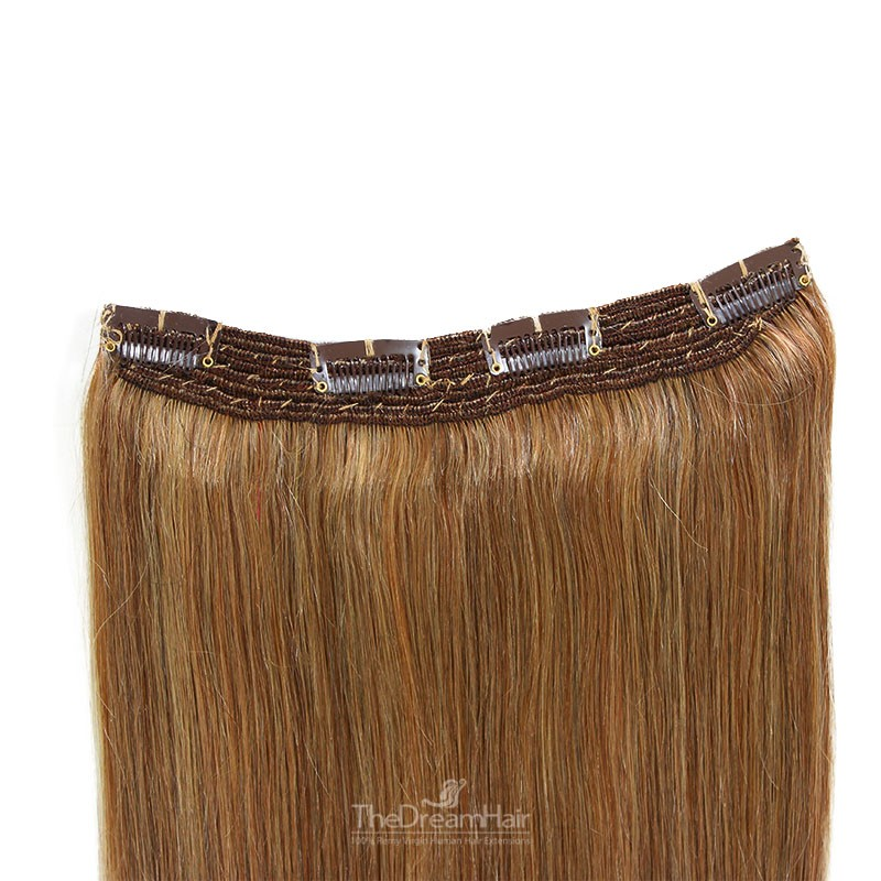 One Piece Of Quadruple Weft, Extra Thick, Clip in Hair Extensions, Color #8 (Chestnut Brown), Made With Remy Indian Human Hair