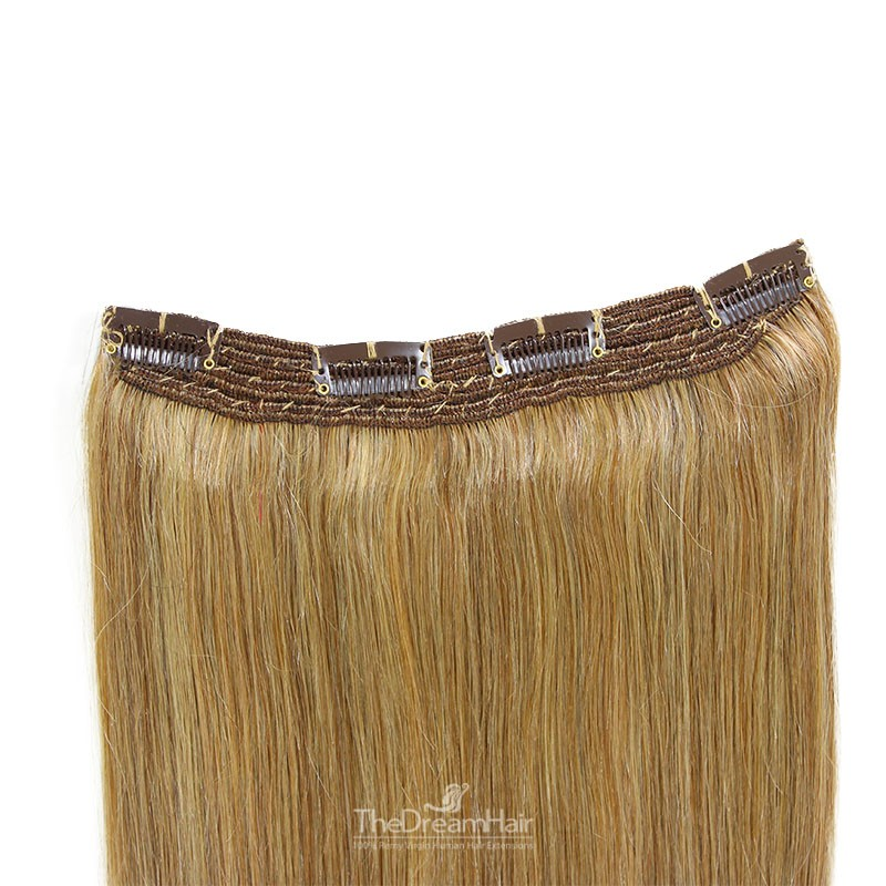 One Piece Of Quadruple Weft, Extra Thick, Clip in Hair Extensions, Color #12 (Light Brown), Made With Remy Indian Human Hair