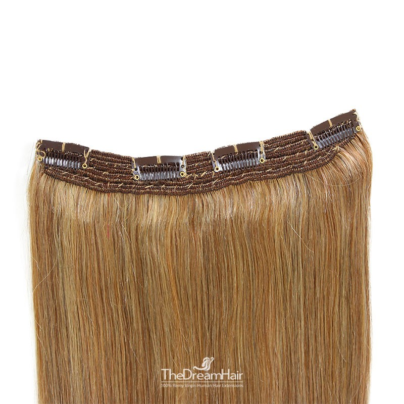 One Piece Of Quadruple Weft, Extra Thick, Clip in Hair Extensions, Color #10 (Golden Brown), Made With Remy Indian Human Hair