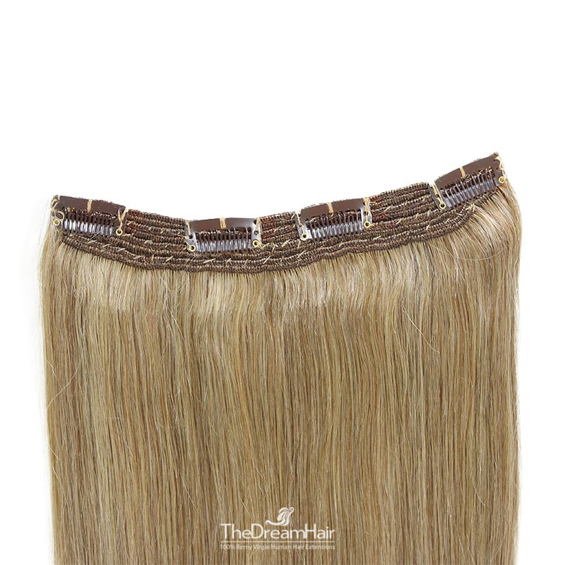 One Piece Of Quadruple Weft, Extra Thick, Clip in Hair Extensions, Color #16 (Medium Ash Blonde), Made With Remy Human Hair