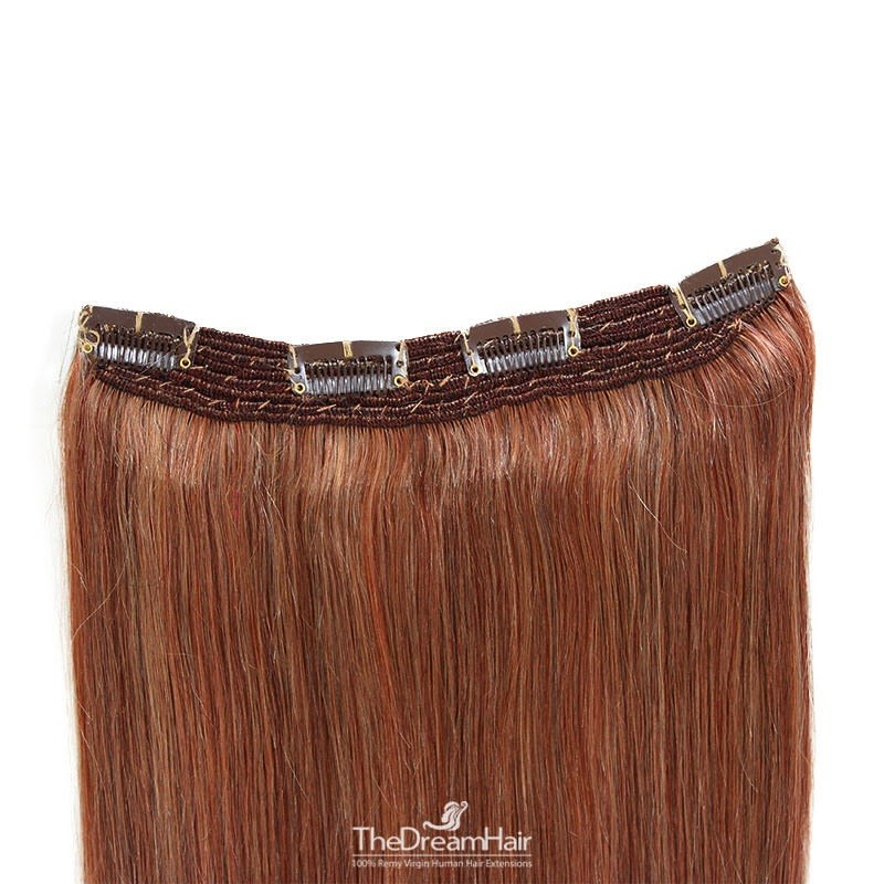 One Piece Of Quadruple Weft, Extra Thick, Clip in Hair Extensions, Color #35 (Red Rust), Made With Remy Indian Human Hair