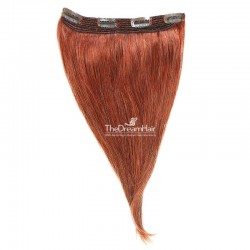 One Piece Of Quadruple Weft, Extra Thick, Clip in Hair Extensions, Color 350 (Dark Copper Red), Made With Remy Indian Human Hair