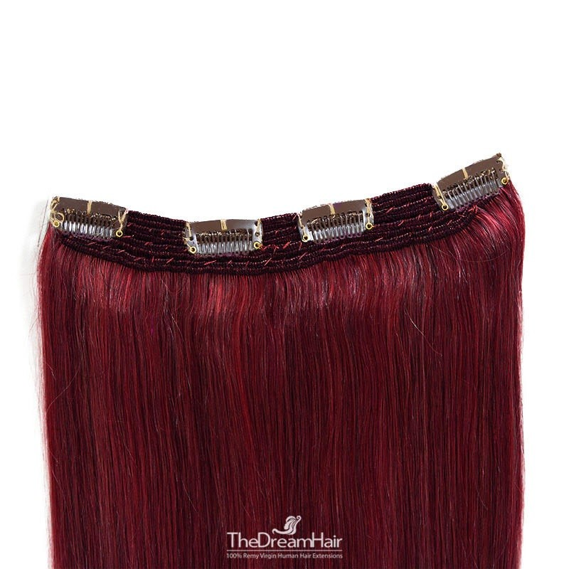 One Piece Of Quadruple Weft, Extra Thick, Clip in Hair Extensions, Color #99j (Burgundy), Made With Remy Indian Human Hair
