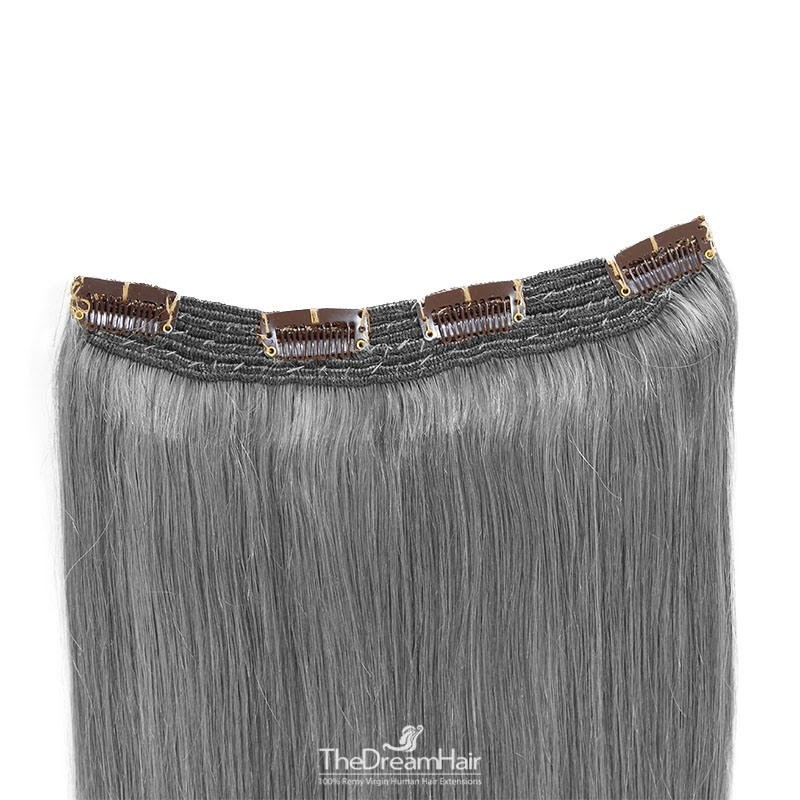 One Piece Of Quadruple Weft, Extra Thick, Clip in Hair Extensions, Color #Silver, Made With Remy Indian Human Hair