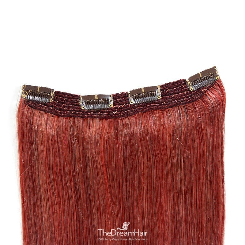 One Piece Of Quadruple Weft, Extra Thick, Clip in Hair Extensions, Color #Red, Made With Remy Indian Human Hair