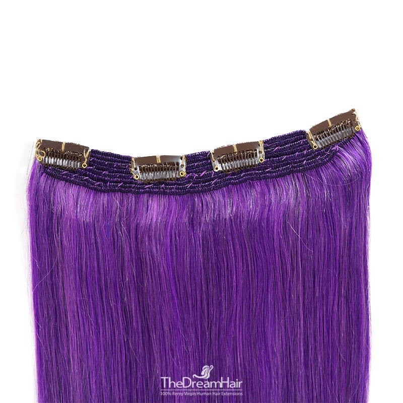 One Piece Of Quadruple Weft, Extra Thick, Clip in Hair Extensions, Color #Purple, Made With Remy Indian Human Hair