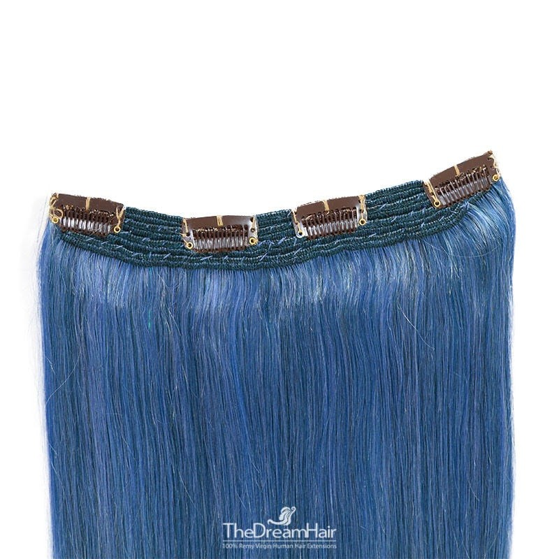 One Piece Of Quadruple Weft, Extra Thick, Clip in Hair Extensions, Color #Blue, Made With Remy Indian Human Hair