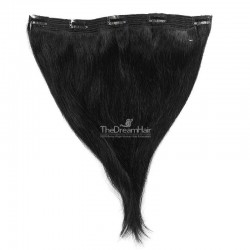 One Piece of Quadruple Weft, Extra Large And Extra Thick, Clip in Hair Extensions, Color #1 (Jet Black)