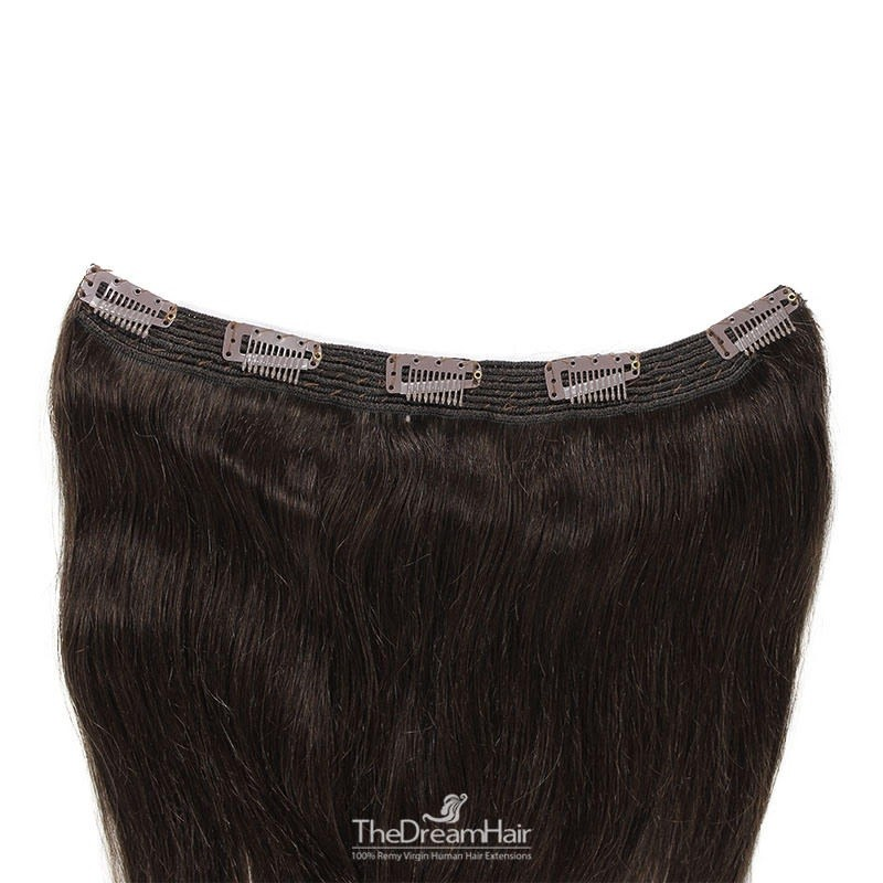 One Piece of Quadruple Weft, Extra Large And Extra Thick, Clip in Hair Extensions, Color #1B (Off Black)