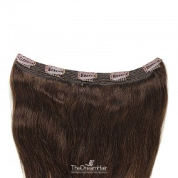 One Piece of Quadruple Weft, Extra Large And Extra Thick, Clip in Hair Extensions, Color #2 (Darkest Brown)