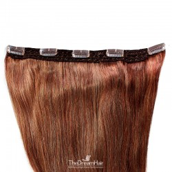 One Piece of Quadruple Weft, Extra Large And Extra Thick, Clip in Hair Extensions, Color #35 (Red Rust)