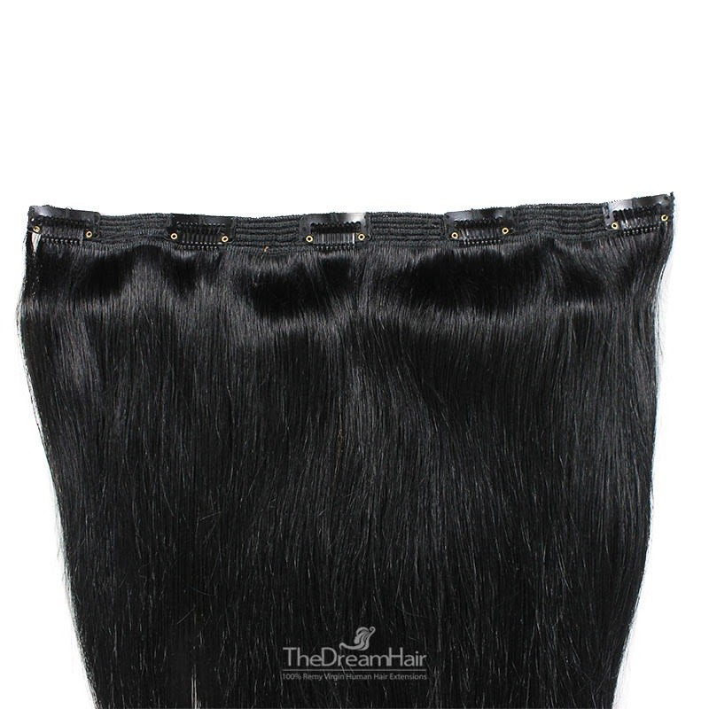 """One Piece of Triple Weft """"Extra-Large"""", Clip in Hair Extensions, Color #1 (Jet Black), Made With Remy Indian Human Hair"""