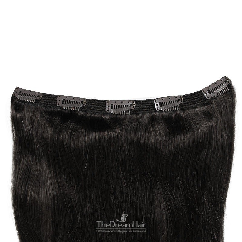 """One Piece of Triple Weft """"Extra-Large"""", Clip in Hair Extensions, Color #1B (Off Black), Made With Remy Indian Human Hair"""