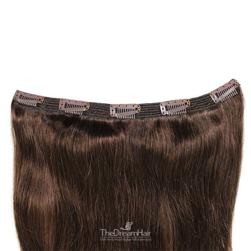 """One Piece of Triple Weft """"Extra-Large"""", Clip in Hair Extensions, Color #2 (Darkest Brown), Made With Remy Indian Human Hair"""
