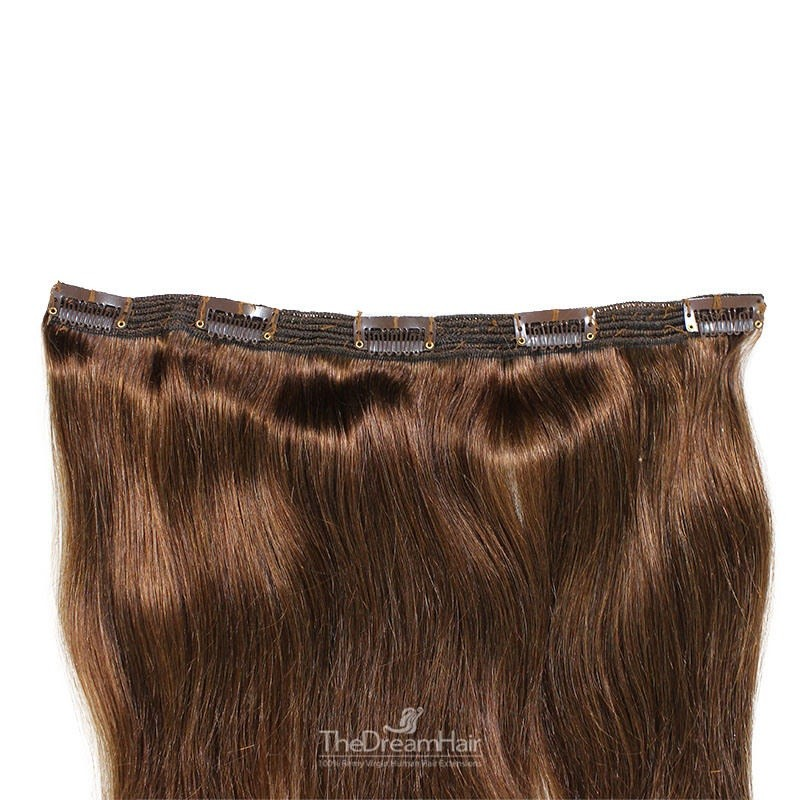 """One Piece of Triple Weft """"Extra-Large"""", Clip in Hair Extensions, Color #4 (Dark Brown), Made With Remy Indian Human Hair"""