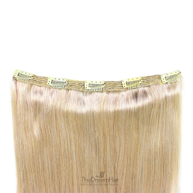 """One Piece of Triple Weft """"Extra-Large"""", Clip in Hair Extensions, Color #613 (Platinum Blonde), Made With Remy Indian Human Hair"""