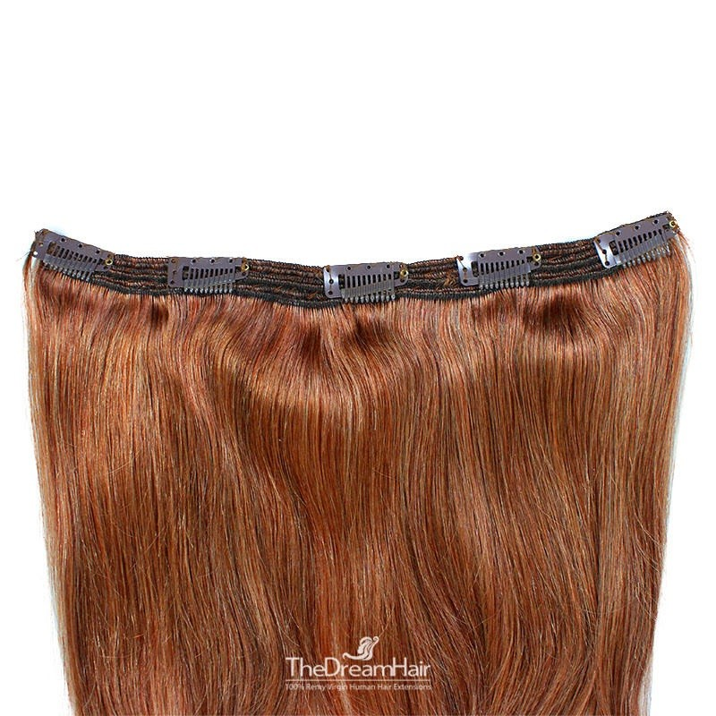 """One Piece of Triple Weft """"Extra-Large"""", Clip in Hair Extensions, Color #33 (Auburn), Made With Remy Indian Human Hair"""