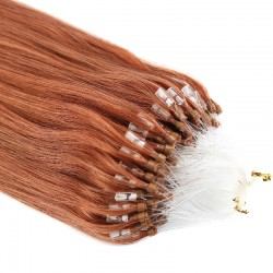Micro Loop Ring Hair Extensions, Color #350 (Dark Copper Red), Made With Remy Indian Human Hair