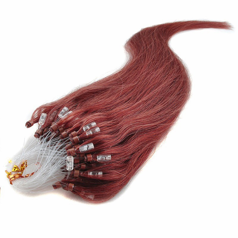 Micro Loop Ring Hair Extensions, Color #35 (Red Rust), Made With Remy Indian Human Hair