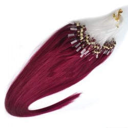 Micro Loop Ring Hair Extensions, Color #530 (Red Wine), Made With Remy Indian Human Hair