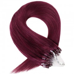Micro Loop Ring Hair Extensions, Color #99j (Burgundy), Made With Remy Indian Human Hair