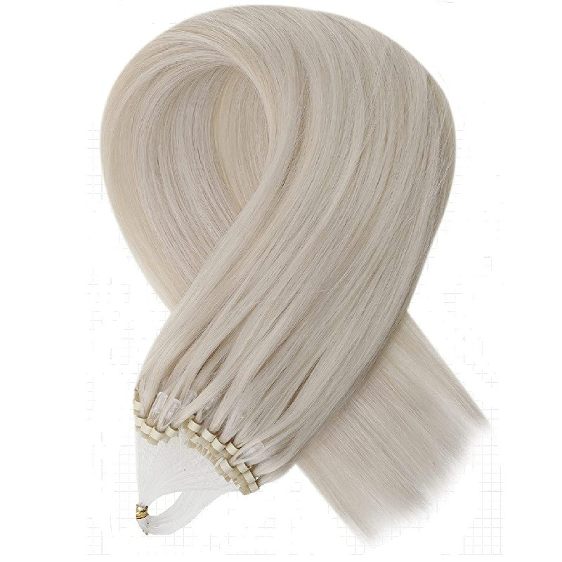 Micro Loop Ring Hair Extensions, Color #Grey, Made With Remy Indian Human Hair
