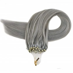 Micro Loop Ring Hair Extensions, Color #Silver, Made With Remy Indian Human Hair