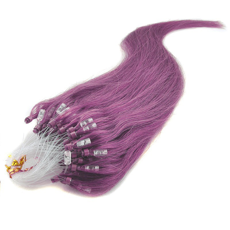 Micro Loop Ring Hair Extensions, Color #Purple, Made With Remy Indian Human Hair