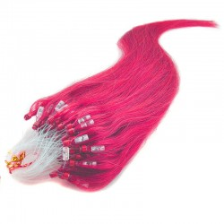 Micro Loop Ring Hair Extensions, Color #Pink, Made With Remy Indian Human Hair