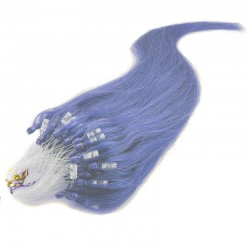 Micro Loop Ring Hair Extensions, Color #Blue, Made With Remy Indian Human Hair