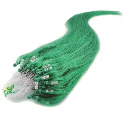 Micro Loop Ring Hair Extensions, Color #Green, Made With Remy Indian Human Hair