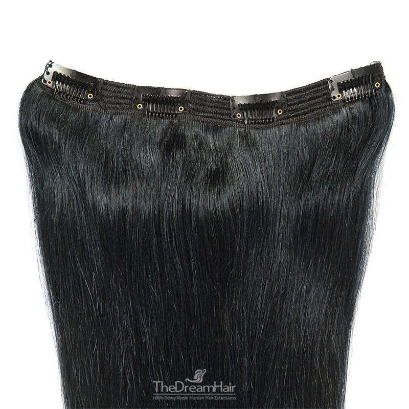 One Piece of Triple Weft, Clip in Hair Extensions, Color #1 (Jet Black), Made With Remy Indian Human Hair