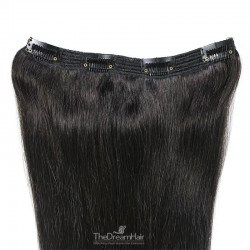 One Piece of Triple Weft, Clip in Hair Extensions, Color #1B (Off Black), Made With Remy Indian Human Hair