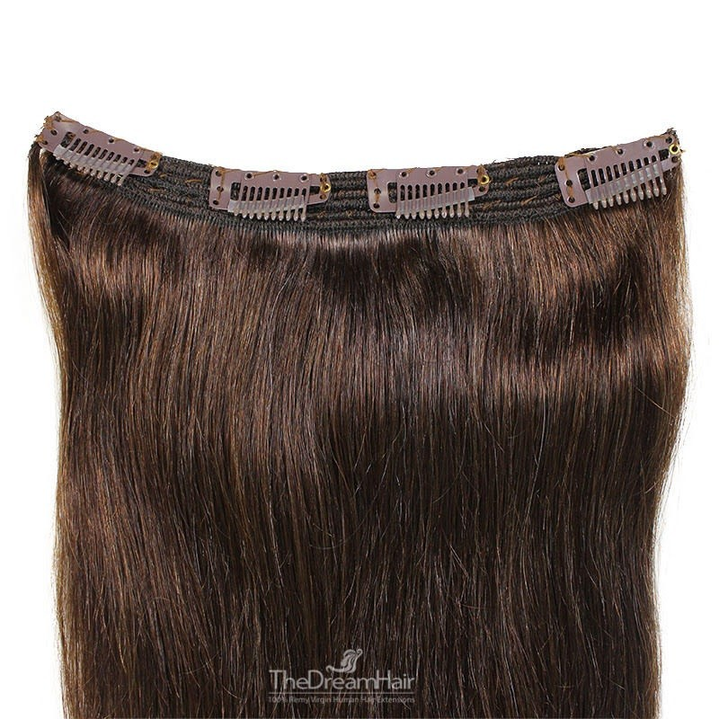 One Piece of Triple Weft, Clip in Hair Extensions, Color #2 (Darkest Brown), Made With Remy Indian Human Hair