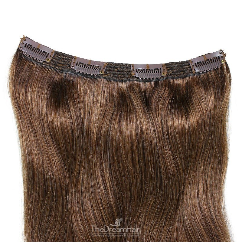 One Piece of Triple Weft, Clip in Hair Extensions, Color #4 (Dark Brown), Made With Remy Indian Human Hair