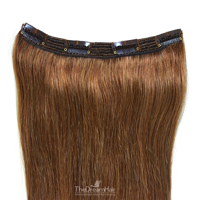One Piece of Triple Weft, Clip in Hair Extensions, Color #6 (Medium Brown), Made With Remy Indian Human Hair