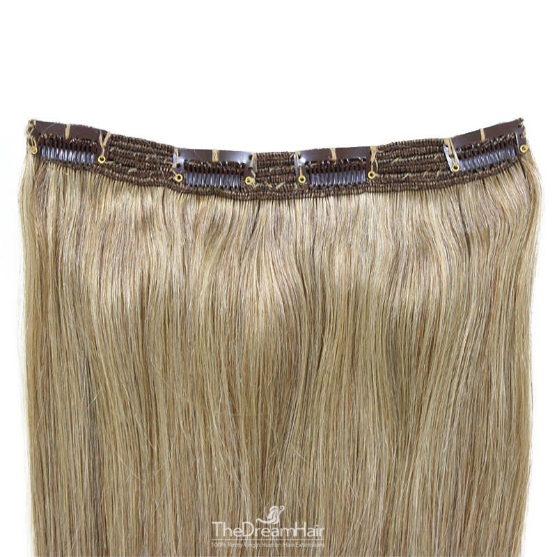 One Piece of Triple Weft, Clip in Hair Extensions, Color #16 (Medium Ash Blonde), Made With Remy Indian Human Hair