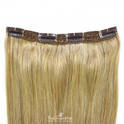 One Piece of Triple Weft, Clip in Hair Extensions, Color #24 (Golden Blonde), Made With Remy Indian Human Hair