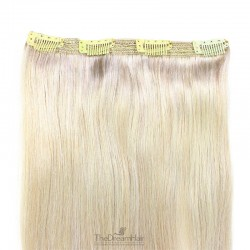 One Piece of Triple Weft, Clip in Hair Extensions, Color #60 (Lightest Blonde), Made With Remy Indian Human Hair