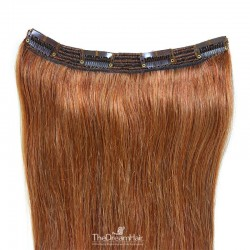 One Piece of Triple Weft, Clip in Hair Extensions, Color #30 (Dark Auburn), Made With Remy Indian Human Hair