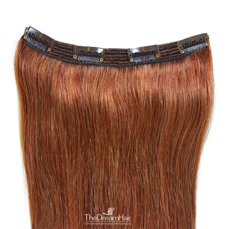 One Piece of Triple Weft, Clip in Hair Extensions, Color #33 (Auburn), Made With Remy Indian Human Hair