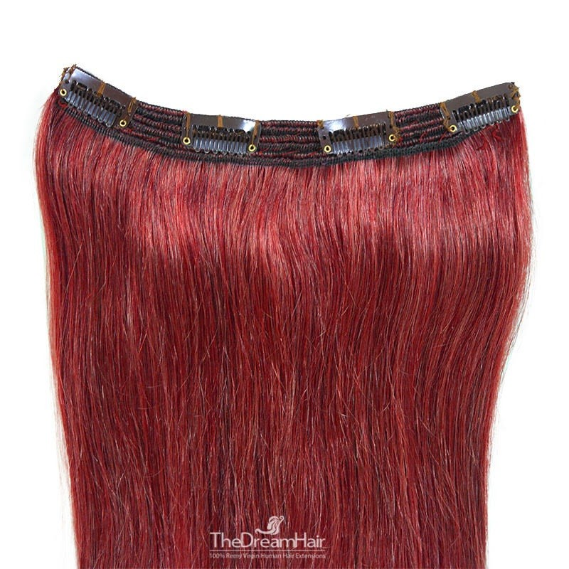 One Piece of Triple Weft, Clip in Hair Extensions, Color #530 (Red Wine), Made With Remy Indian Human Hair