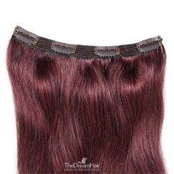 One Piece of Triple Weft, Clip in Hair Extensions, Color #99j (Burgundy), Made With Remy Indian Human Hair