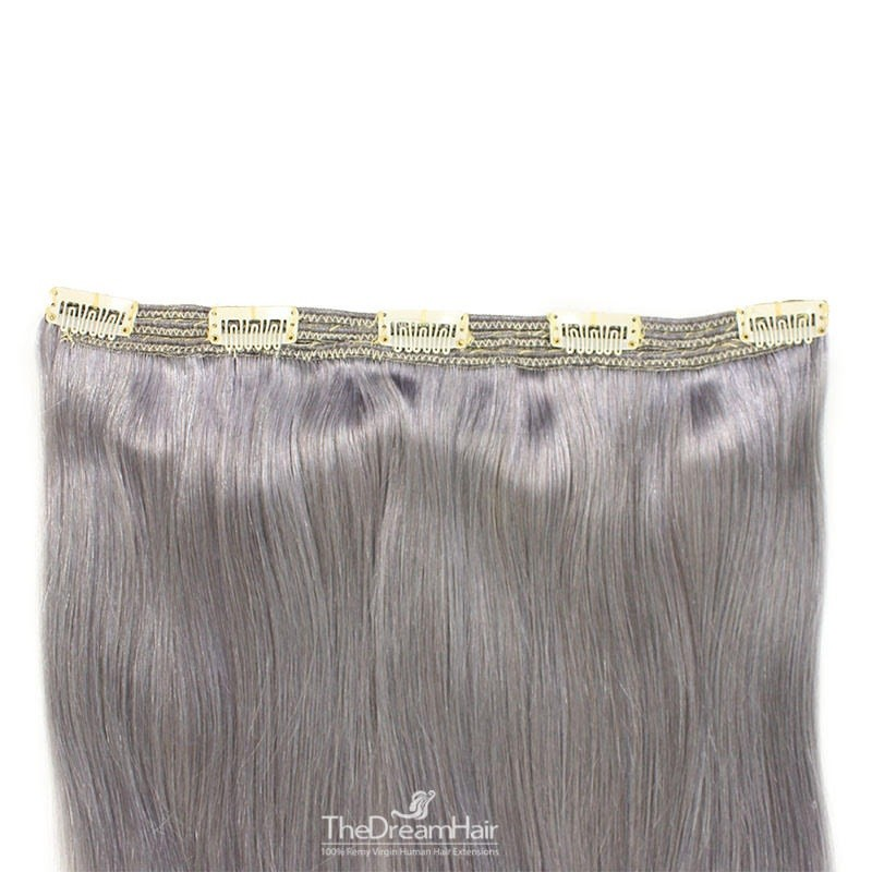 One Piece of Triple Weft, Clip in Hair Extensions, Color #Silver, Made With Remy Indian Human Hair