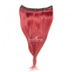 One Piece of Triple Weft, Clip in Hair Extensions, Color #Red, Made With Remy Indian Human Hair