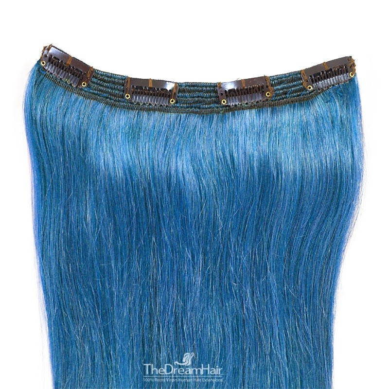 One Piece of Triple Weft, Clip in Hair Extensions, Color #Blue, Made With Remy Indian Human Hair