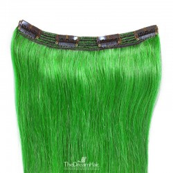 One Piece of Triple Weft, Clip in Hair Extensions, Color #Green, Made With Remy Indian Human Hair